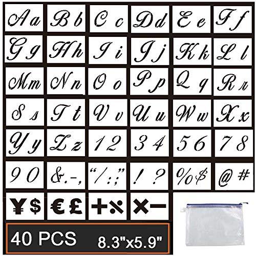 Guwheat 40 Stück Buchstaben Schablonen auf Holz malen, Wiederverwendbare Vorlage mit Kalligraphie Schriftart Groß- und Kleinbuchstaben, Zahlen und Zeichen, mit Reißverschlusstaschen, 21 x 15 cm (Felsen Große)