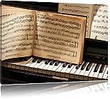 Dark Klavier Noten, Nahaufnahme Piano Leinwandbild, Kunstdruck, Keilrahmen, Motive, Poster, riesig, gerahmt, Wandbild, Gemälde, Ölbild, Plakat, Format:120x80 cm