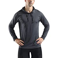 donhobo Mens Gym Fitness Hoodie Bodybuilding Slim Fit Long Sleeve Quick Dry Running Sweatshirts with Reflective Strip