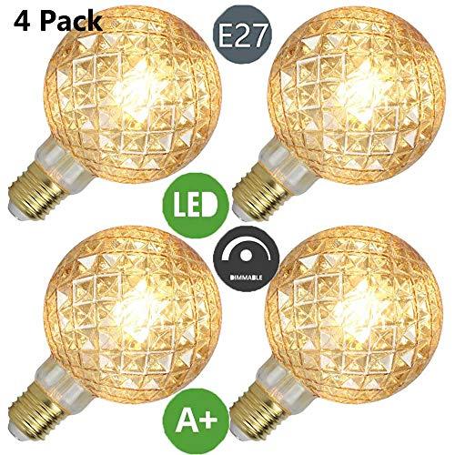 Edison Glühbirne LED E27 Fassung- 2 Stück,YWXR,4W,2700K, Warmweiß Birne,Ananas-Twill Pendelleuchte Antike Weich Filament Beleuchtung Retro Look Hängeleuchte Vintage Deckenleuchte 13CM*16CM,Gold Gold-twill