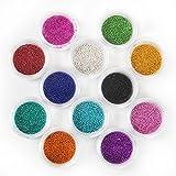 Coscelia 12 Farben Micro-Perlen Nageldesign Schmucksteine Nail Art Minibeads