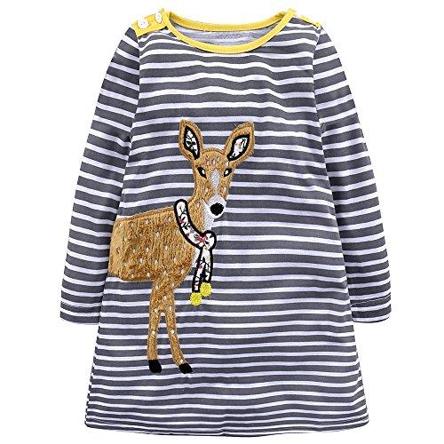 (Baby Mädchen Prinzessin Kleid Cartoon Tiere Lange Ärmel/Kurzarm T-Shirt Jerseykleid mit Streifen Crewneck Kleid (7 Jahre, Grau-Hirsch))