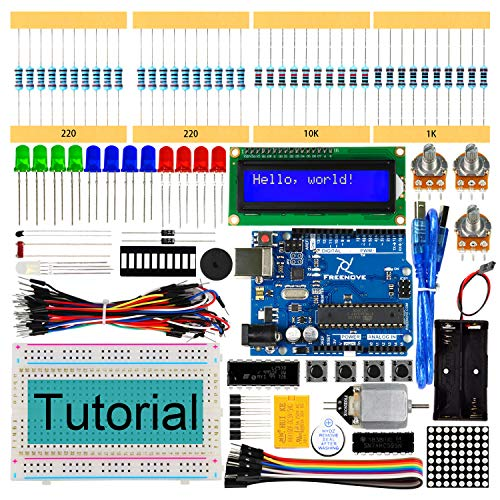 Freenove Super Starter Kit with Control Board (Compatible with Arduino IDE), 139 Pages Detailed Tutorial, 158 Items, 25 Projects, Solderless Breadboard
