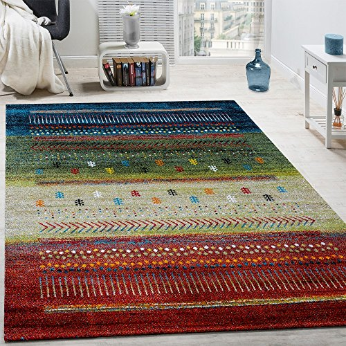 Alfombra De Diseño Gabbeh Nómada Loribaft Contorneada Multicolor Roja Crema Verde Y Azul , tamaño:160x230 cm