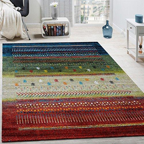 Paco Home Designer Teppich Gabbeh Loribaft Bordüre Nomaden Multicolor Rot Creme Grün Blau, Grösse:200x290 cm (Teppich Rot Blau)
