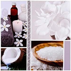Promobo -Tableau Toile Cadre Déco Zen Imprimé Spa Salon Bien Etre Coco Cristal De Sel Blanc