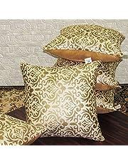 Zikrak Exim Set of 5 Beige Printed Velvet Cushion Covers 50X50 cm (20X20 inches)