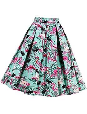 MagiDeal Falda Midi Estampada Plisada A-line Vintage Mujer Chica Brillante Impreso Encantador Estilo