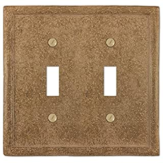 Amerelle Texture Stone 2 Toggle Wall Plate - Noce
