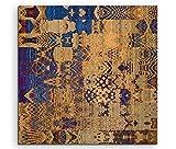 Sinus Art Wandbild quadratisch 60x60cm Bild – Orientalisches Muster aus Beige und Königsblau