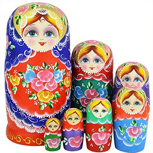 YAKELUS marca profesional de Matrioska, Muñecas Rusas Matrioska 7 piece Madera Matrioska de Rusia de 7 capas, hecha a mano y por el tilo, es un juguete y un regalo