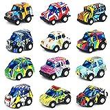 Nuheby Veicoli Auto Cars Macchinine Giocattolo per Bambini Scarabocchio Lega Tirare Indietro Mini Macchina Giocattolo Regalo Ragazza Ragazzo 3,4,5,6 Anni,Colori Casuale (12 Pezzi)
