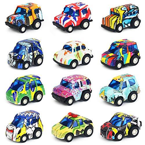 Nuheby Mini Auto Kinder Set Spielzeug Pullback Auto 12 Stück Fahrzeuges Druckguss Spielzeugautos Modell Geschenk für Kinder ab 3 4 5 6 Jahre Mädchen Junge
