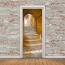 Imitación de estilo europeo de piedra de 3D pasos puerta del dormitorio Stick puerta creativa pegatinas puerta de madera renovación pegatina impermeable autoadhesiva puerta etiqueta 77cmx200cm