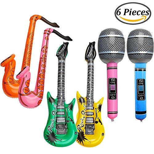 Keriber 6 Stück Aufblasbare Rockstar Spielzeug Set Aufblasbare Gitarre Saxophon Big Mikrofon für Party Supplies Musik Teil (Big Party Supplies)
