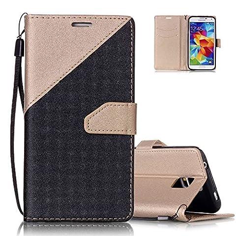 Samsung S5 Brieftasche,Galaxy S5 Flip Case Cover, Aeeque® [Schwarz Gold