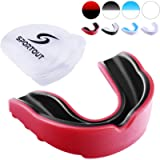 Sportout Gum Shield, Custom Mouldable Gel Fit Mouthguard, Sports Mouthguard with Transparent Case, Perfect for Karate…