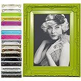 WOLTU Bilderrahmen Foto Galerie Bild Rahmen Bilder Collage Barock 6 Farben in 5 Größen (10x15cm, Grün)