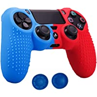 MrDeal Studded Dots Silicone Rubber Gel Customizing Cover for PS4/slim/Pro Dualshock 4 Controller x 1(Red&Blue) with…