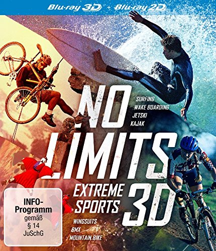No Limits: Extreme Sports 3D (3D Blu-ray) 3-Blu-ray-Box: Surfing - Wake Boarding - JetSki - Kajak - Wingsuits - BMX - Mountain Bike