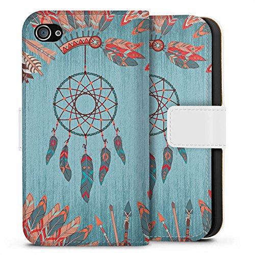 Apple iPhone X Silikon Hülle Case Schutzhülle Traumfänger Indianer Federn Sideflip Tasche weiß