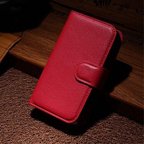 LD Case A000199 Bezug Leder-Look, mit Kartenschlitzen für Wiko Ozzy, Rot