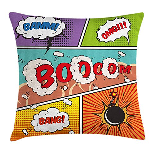 (JIEKEIO Superhero Throw Pillow Cushion Cover, Retro Comic Strip Speech Bubbles Funny Pop Art Stylized Vintage Hobby Style Image, Decorative Square Accent Pillow Case, 18 X 18 Inches, Multicolor)