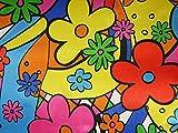 ab 1m: Polyester Satin Flower-Power, ca. 150cm breit