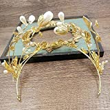 WHH* Mujeres Europa Retro Palacio Reina Barroco Corona / Oro hoja Rhinestone / crysta perlas / Tocado / Novia De Lujo De La Boda Ornament / headband 1 Pieza