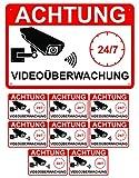 Videoüberwachung Schild 30x20cm Hinweisschild Achtung Videoüberwacht Warnschild Aluminium Set Plus 8 Aufkleber