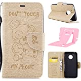 Ekakashop Magnetic Flip Cover for Motorola G5,Cute Funny Little Bear Embossing Wallet Case with Hand Strap for Moto G5, Pretty Pu Leather Women&Men General Folio Style Colorful Wallet Case with Card Slots for Motorola Moto G5 with Kickstand (Colors Random) -- Gold
