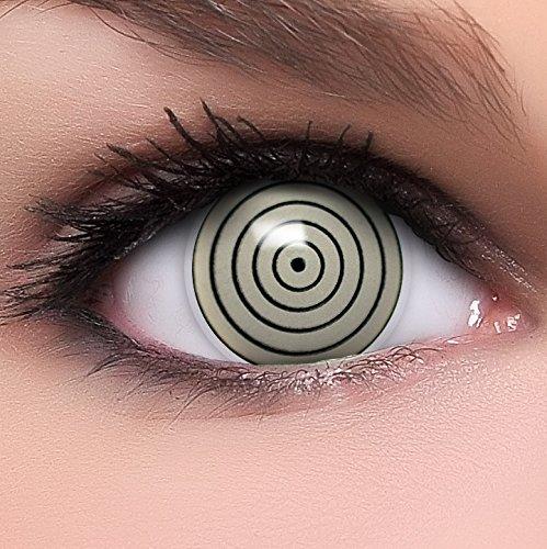 Rinnegan Madara Kostüm - Sharingan Kontaktlinsen Rinnegan in grau inkl. Behälter - Top Linsenfinder Markenqualität, 1Paar (2 Stück)