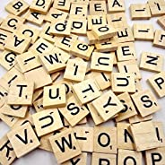 DAYONG 100PCS Wooden Scrabble Tiles Letter Alphabet Scrabbles Number Crafts English Words Uppercase Letters Mi
