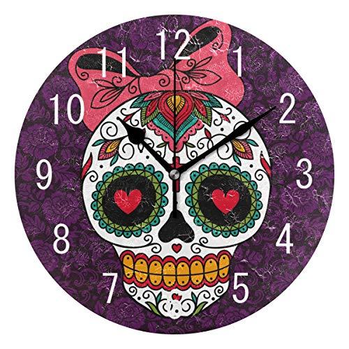 Mexikanische Schlafzimmer-möbel (Use7 Wanduhr, mexikanischer Totenkopf mit Totenkopf-Motiv, rund, Acryl, Nicht tickend, geräuschlos, für Wohnzimmer, Küche, Schlafzimmer)