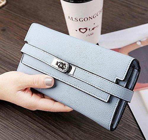 Hippolo Donna grande capacità lusso cera vera pelle Portafoglio con tasca con zip (confezioni regalo) (Pink) Blue