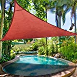 #9: Set of 2: Red PE Fabric Triangular Outdoor Sun Shade Sail 16-foot Canopy Top UV Block Portable for Park Patio Lawn Yard Garden Swimming Pool Overhead Cover