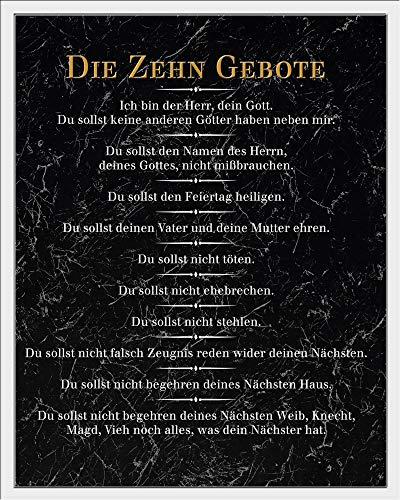 empireposter Die 10 Gebote - Schwarz - Inspirations Mini Poster Plakat Druck - Größe 40x50 + Wechselrahmen, Shinsuke® Maxi Kunststoff Weiss, Acryl-Scheibe