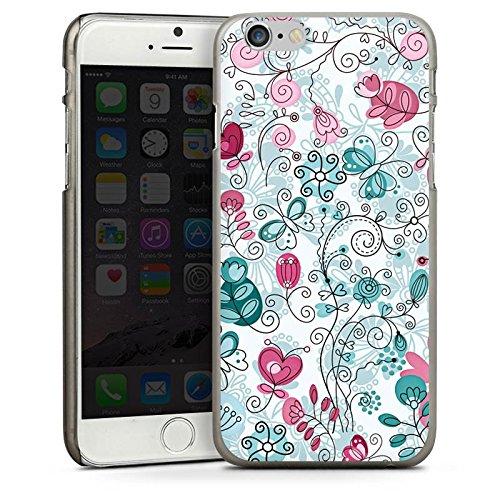 Apple iPhone 5 Housse Étui Silicone Coque Protection Papillons Vrilles Fleurs CasDur anthracite clair