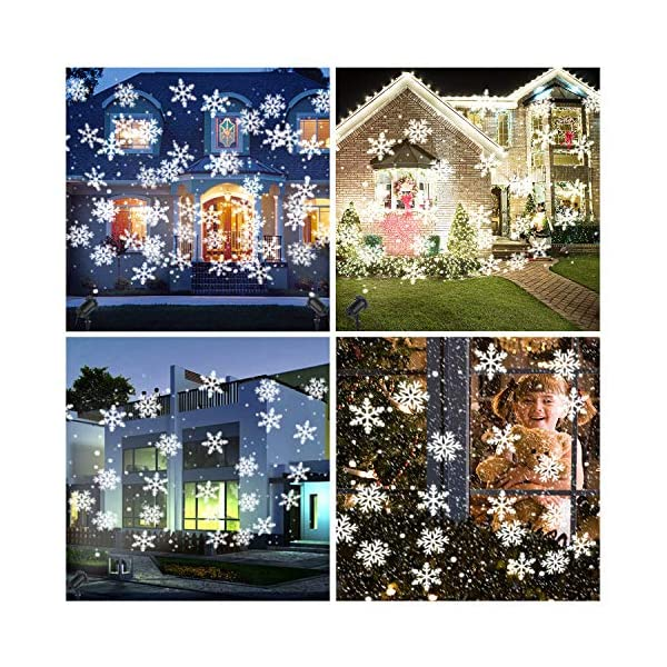 Luce Natale Proiettore Decorazioni Luci Natale Esterno Proiettore Lampada Luce Fiocchi di Neve Decorativi Spotlight di… 4 spesavip