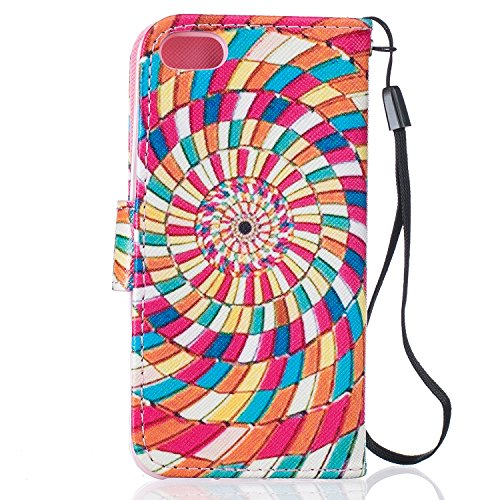 Custodia iPhone SE, Cover iPhone 5/5S, ISAKEN Flip Cover per Apple iPhone 5 5S SE, Elegante borsa Bookstyle Design Flip Caso in Sintetica Ecopelle PU Pelle Protettiva Portafoglio Wallet Case Cover con Cerchio colorato