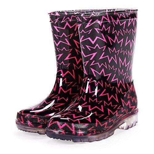 diMio Pink/Orange Blinkende LED Regenstiefel für Mädchen mit schickem Zickzackmotiv in Pink Gr. 26 (Stiefel Für Schicke Mädchen)