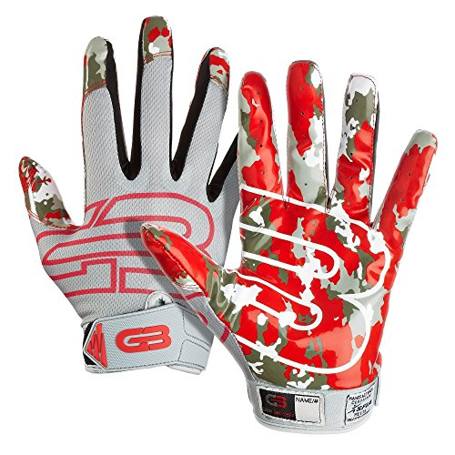 "Grip Boost Stealth ""Pro Elite"" American Football Receiver Handschuhe - grau/rot Gr. L"