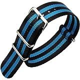 18mm 20mm 22mm 24mm Nero Cinturino per orologio in nylon di durevole militare Cinturino per cinturini Sostituzioni per uomo