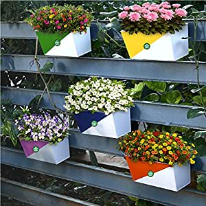 TrustBasket Twin Colored Diagonal Railing Planters (Yellow, Pink, Orange, Green and Blue) - Set of 5