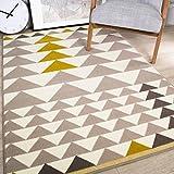 The Rug House Milan Alfombra para Salas con diseño alerquin Tradicional Triangulares Color Amarillo Ocre Mostaza Gris Beige 120cm x 170cm (3'11' x 5'7')