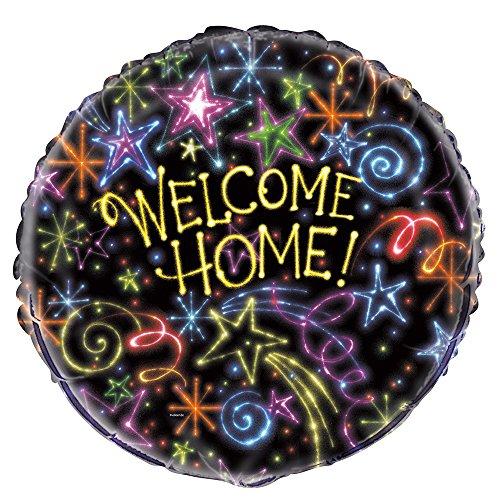 Preisvergleich Produktbild Unique Party 5399445,7cm Folie Neon Sterne Welcome Home Ballon