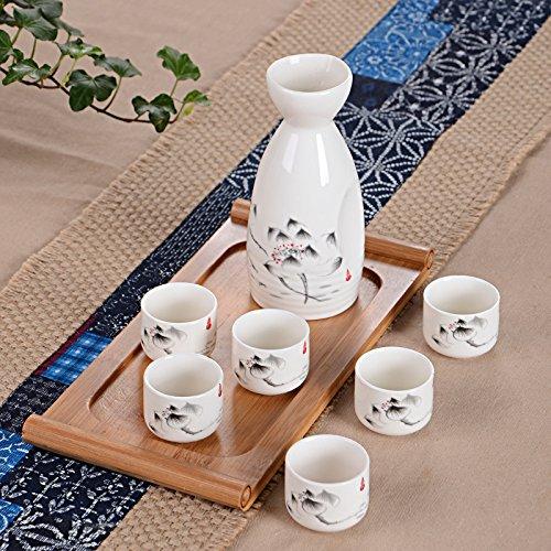 service-a-sake-coupe-a-sake-japonais-traditionnel-ensemble-peinte-a-la-main-dencre-couleur-motif-lot