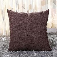 outflower funda de almohada color (funda de cojín de Lienzo de lino simple y elegante/dormitorio/salón/oficina/coche (45* 45cm , lino, Kaffee, 45*45cm