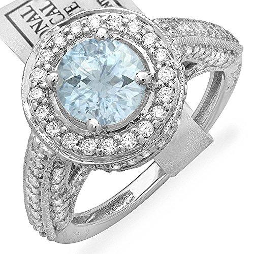 Lucia Costin Damen-Verlobungsring 14 Karat (585) Weißgold Aquamarin Diamant Weiß Rundschliff Größe 14 - Diamant Aquamarin Und Ring Halo