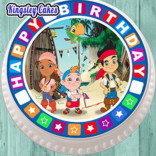 vorgeschnittenen Essbarer Zuckerguss großen Kuchen Topper–19,1cm rund Jake der Pirat mit Geburtstag Bordüre